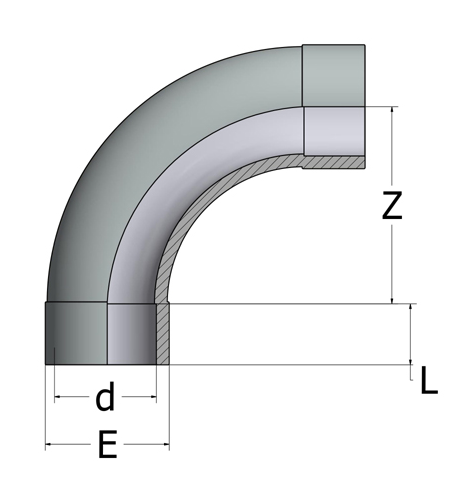 ABS 90 Degree Short Radius Bend Plain - Imperial - All sizes